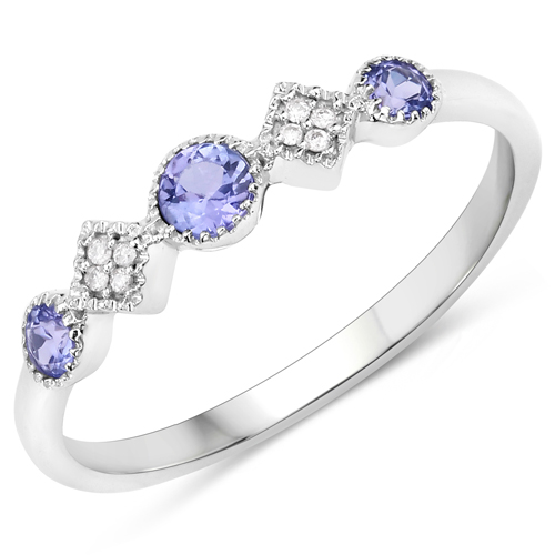 Tanzanite-0.26 Carat Genuine Tanzanite and White Diamond 14K White Gold Ring