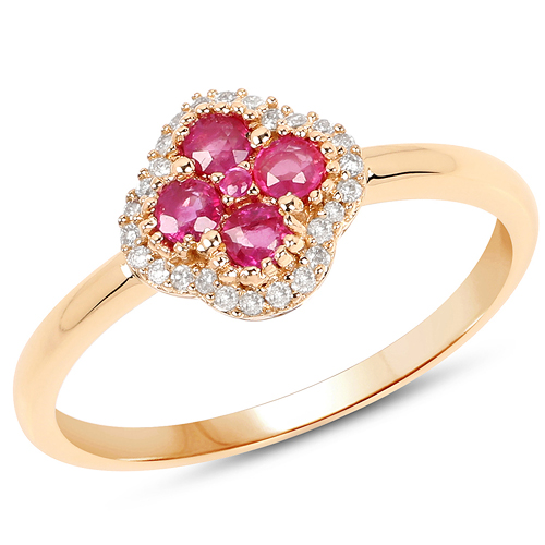 Ruby-0.39 Carat Genuine Ruby and White Diamond 14K Yellow Gold Ring