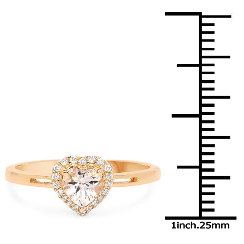 0.50 Carat Genuine Morganite and White Diamond 14K Yellow Gold Ring