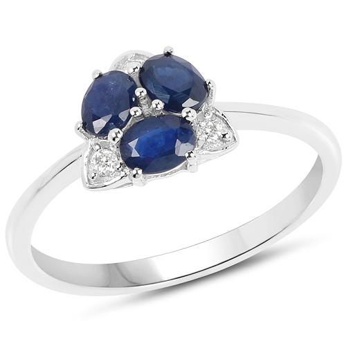 Sapphire-0.71 Carat Genuine Blue Sapphire and White Diamond 14K White Gold Ring