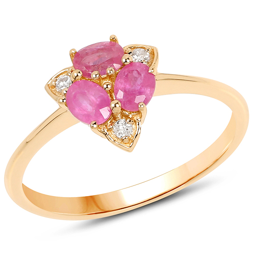 Ruby-0.71 Carat Genuine Ruby and White Diamond 14K Yellow Gold Ring