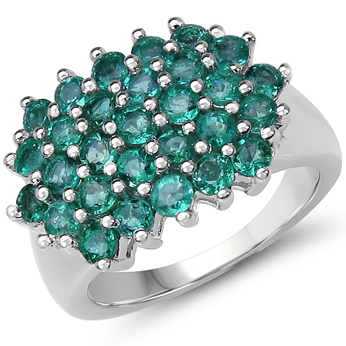 Emerald-1.74 Carat Genuine Emerald .925 Sterling Silver Ring