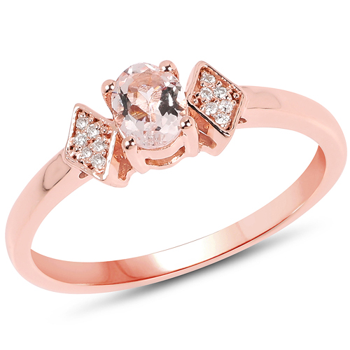 Rings-0.29 Carat Genuine Morganite and White Diamond 14K Rose Gold Ring