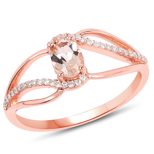 Rings-0.54 Carat Genuine Morganite and White Diamond 14K Rose Gold Ring