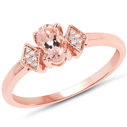 Rings-0.47 Carat Genuine Morganite and White Diamond 14K Rose Gold Ring