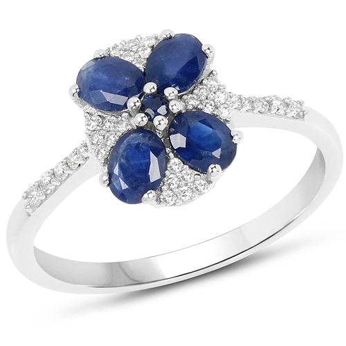 Sapphire-1.04 Carat Genuine Blue Sapphire and White Diamond 14K White Gold Ring