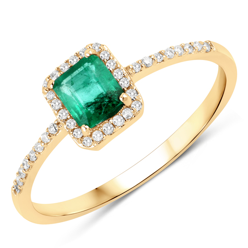 Emerald-0.61 Carat Genuine Zambian Emerald and White Diamond 14K Yellow Gold Ring