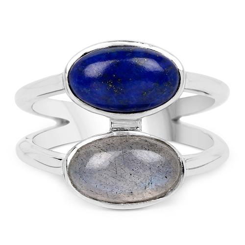 2.91 Carat Genuine Labradorite And Lapis .925 Sterling Silver Ring