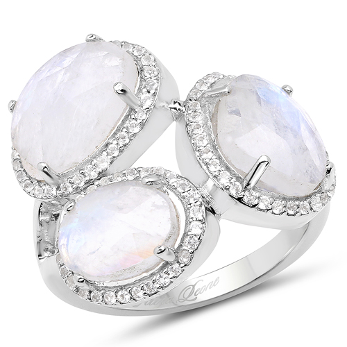 Rings-6.71 Carat Genuine White Rainbow Moonstone And White Topaz .925 Sterling Silver Ring