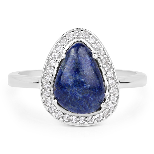 2.03 Carat Genuine Lapis And White Topaz .925 Sterling Silver Ring