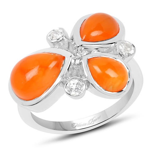 Rings-4.00 Carat Genuine Carnelian And White Topaz .925 Sterling Silver Ring