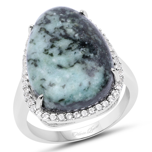 Rings-11.15 Carat Genuine Green Jasper And White Topaz .925 Sterling Silver Ring