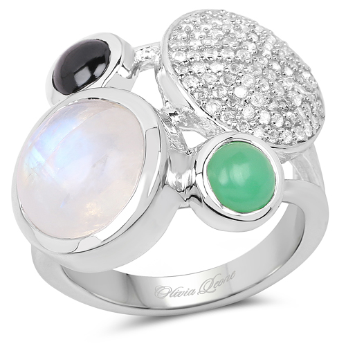 Rings-5.90 Carat Genuine Multi Stone .925 Sterling Silver Ring
