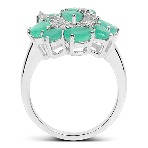 3.57 Carat Genuine Emerald and White Diamond .925 Sterling Silver Ring