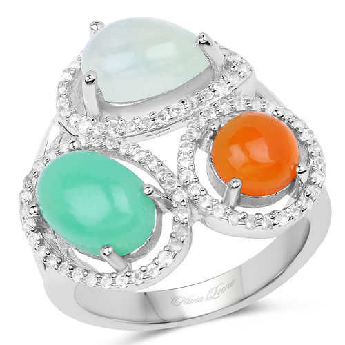 Rings-4.82 Carat Genuine Multi Stone .925 Sterling Silver Ring