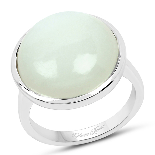 Rings-10.62 Carat Genuine White Moonstone .925 Sterling Silver Ring
