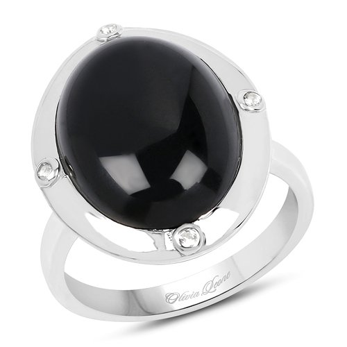 Rings-6.80 Carat Genuine Black Onyx And White Topaz .925 Sterling Silver Ring