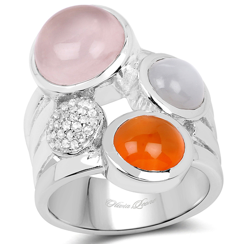 Rings-5.96 Carat Genuine Multi Stone .925 Sterling Silver Ring