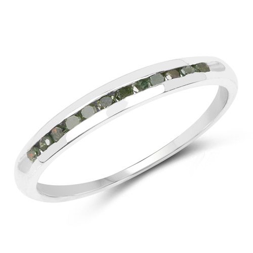 Diamond-0.18 Carat Genuine Green Diamond .925 Sterling Silver Ring