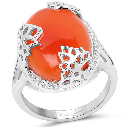 Rings-10.74 Carat Genuine Carnelian And White Topaz .925 Sterling Silver Ring