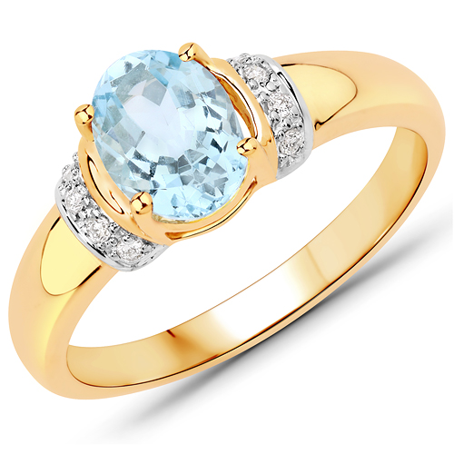 Rings-1.09 Carat Genuine Aquamarine and White Diamond 14K Yellow Gold Ring