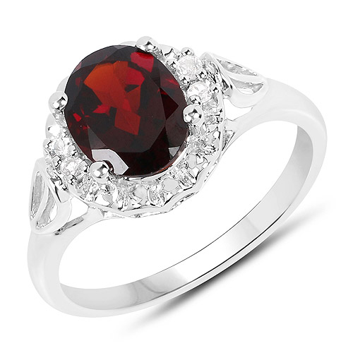 Garnet-2.59 Carat Genuine Garnet and White Topaz .925 Sterling Silver Ring