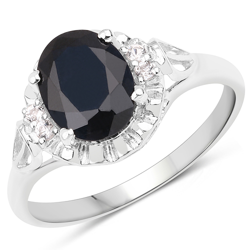 Sapphire-14K White Gold Plated 2.59 ct. t.w. Black Sapphire and White Topaz Ring in Sterling Silver