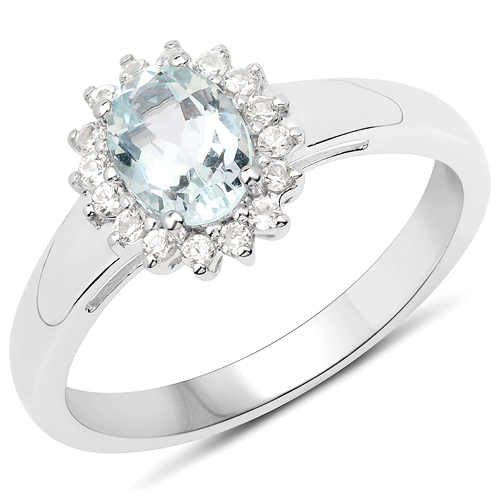 Rings-0.89 Carat Genuine Aquamarine and White Zircon .925 Sterling Silver Ring