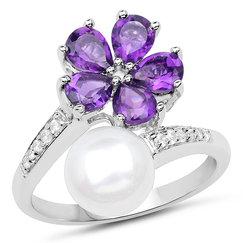 Pearl-4.69 Carat Genuine Pearl, Amethyst and White Zircon .925 Sterling Silver Ring