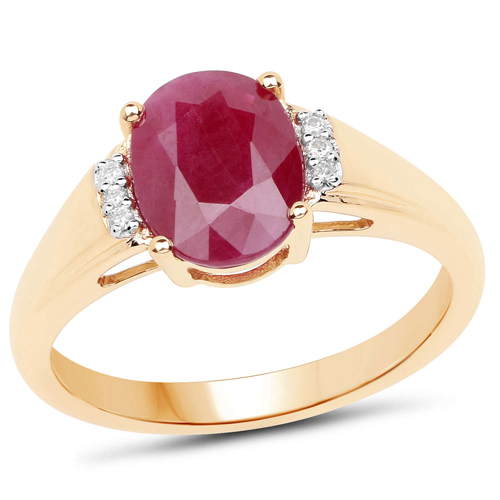 Ruby-2.23 Carat Genuine Ruby and White Diamond 14K Yellow Gold Ring