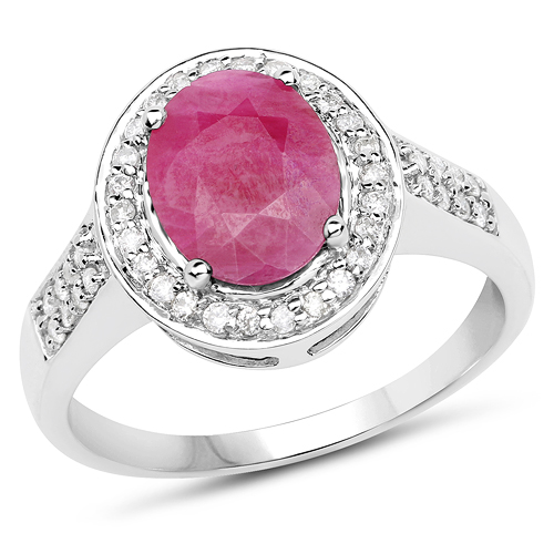 Ruby-2.42 Carat Genuine Ruby and White Diamond 14K White Gold Ring