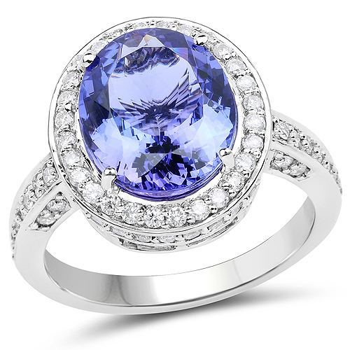 14K White Gold 5.14 Carat Genuine Tanzanite and White Diamond Ring