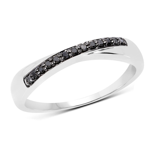 Diamond-0.09 Carat Genuine Black Diamond .925 Sterling Silver Ring