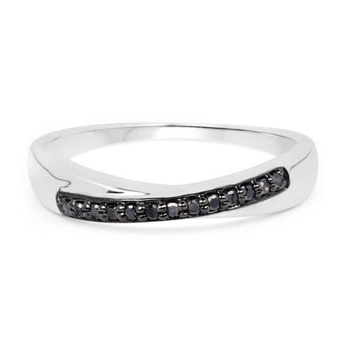 0.09 Carat Genuine Black Diamond .925 Sterling Silver Ring