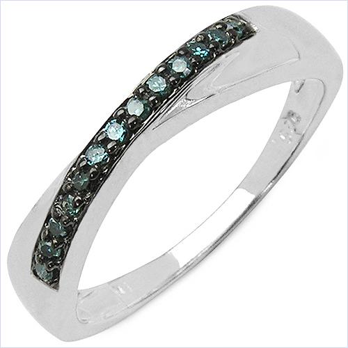 0.27 Carat Genuine Multi Color Diamond .925 Sterling Silver Ring Set