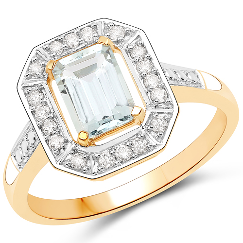 0.98 Carat Genuine Aquamarine and White Diamond 14K Yellow Gold Ring