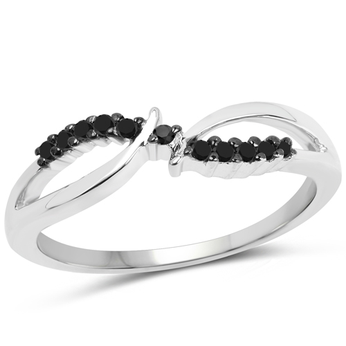 Diamond-0.12 Carat Genuine Black Diamond .925 Sterling Silver Ring