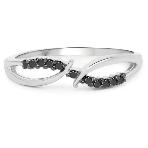 0.12 Carat Genuine Black Diamond .925 Sterling Silver Ring