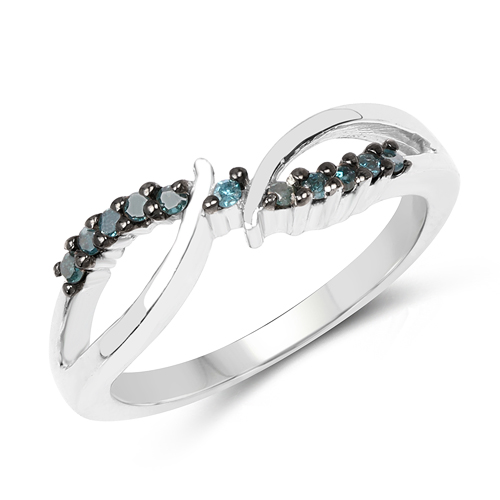 Diamond-0.13 Carat Genuine Blue Diamond .925 Sterling Silver Ring