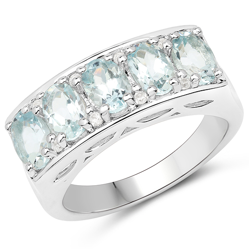 Rings-2.56 Carat Genuine Aquamarine and White Zircon .925 Sterling Silver Ring