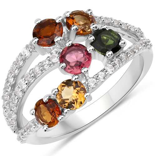 Rings-2.21 Carat Genuine Multi Tourmaline and White Zircon .925 Sterling Silver Ring