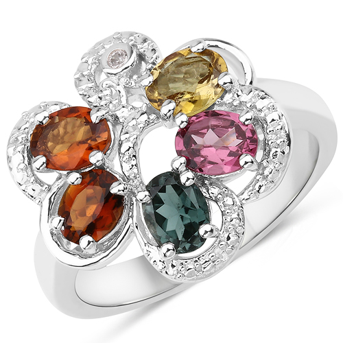 Rings-1.60 Carat Genuine Multi Tourmaline and White Zircon .925 Sterling Silver Ring