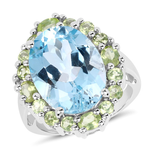 Rings-12.77 Carat Genuine Blue Topaz and Peridot .925 Sterling Silver Ring