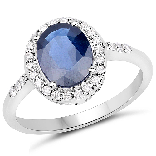 Sapphire-2.46 Carat Genuine Blue Sapphire and White Diamond 14K White Gold Ring
