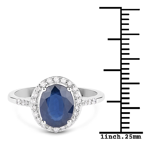 2.46 Carat Genuine Blue Sapphire and White Diamond 14K White Gold Ring