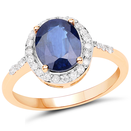 Sapphire-2.46 Carat Genuine Blue Sapphire and White Diamond 14K Yellow Gold Ring