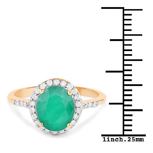 1.86 Carat Genuine Zambian Emerald and White Diamond 14K Yellow Gold Ring