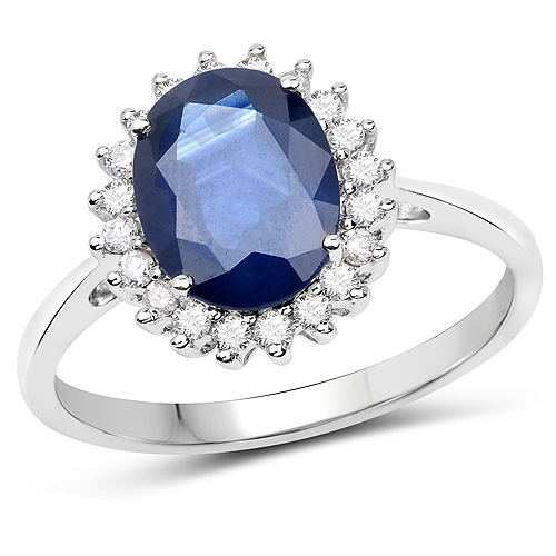Sapphire-2.45 Carat Genuine Blue Sapphire and White Diamond 14K White Gold Ring