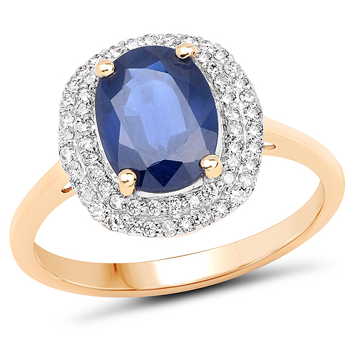 Sapphire-2.52 Carat Genuine Blue Sapphire and White Diamond 14K Yellow Gold Ring