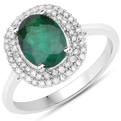 Emerald-1.97 Carat Genuine Zambian Emerald and White Diamond 14K White Gold Ring